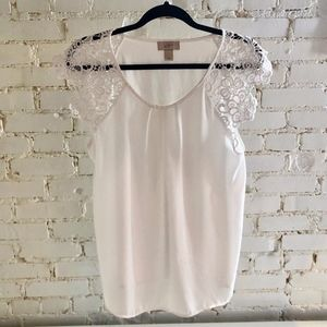 Loft Short Sleeve Blouse with Lace Detail